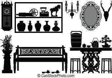 antik, hagyományos, öreg, berendezés