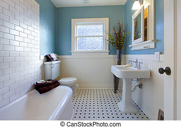antik, kék, fürdőszoba, tervezés, fényűzés
