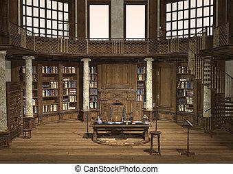 antik, könyvtár