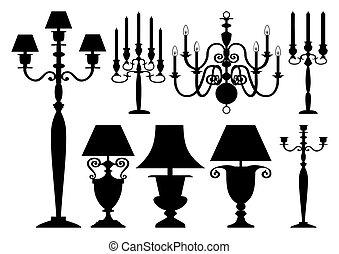 antik, körvonal, állhatatos, világítás