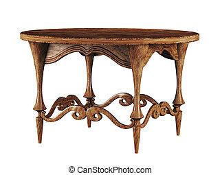 antik, kerek asztal, 3