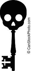 antik, kulcs, tető, koponya