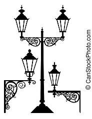 antik, lámpa, állhatatos, utca csillogó