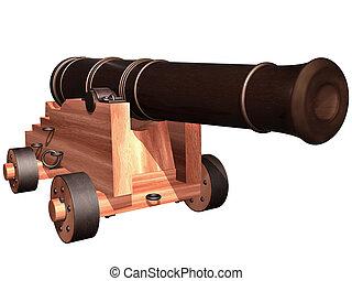 antik, löveg, hajó