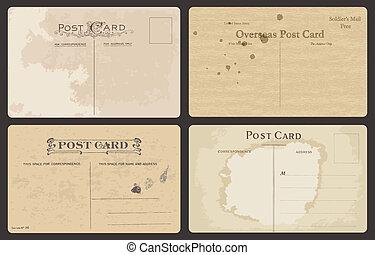 antik, levelezőlapok, állhatatos, vektor