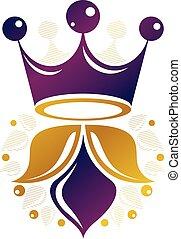 antik, mód, illustration., királyi, címertani, fejtető, logotype, elszigetelt, háttér., vektor, tervezés, retro, fehér, logo., element.