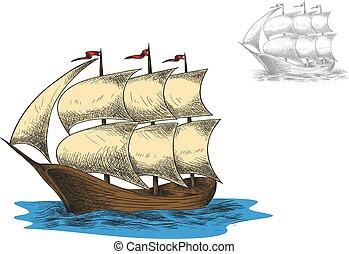 antik, masted, vitorlázás, barque, három, hajó