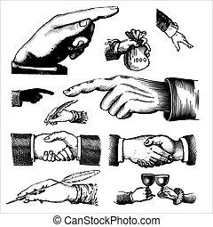 antik, metszet, (vector), kézbesít