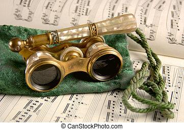 antik opera szemüveg, lap zene