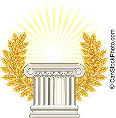 antik, oszlop, borostyán, arany, görög