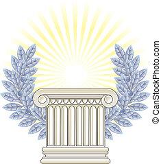 antik, oszlop, laurel., ezüst, görög