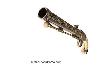antik, pisztoly, fehér, elszigetelt