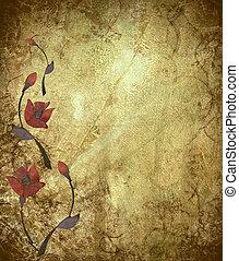 antik, tervezés, grunge, háttér, virágos