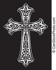 antik, vektor, keresztény, kereszt