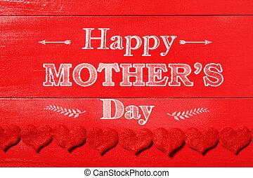 anyák, filc, piros, üzenet, nap, piros, boldog