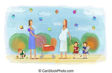anyák, játék, gyerekek