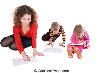 anya, 2, rajz, gyerekek