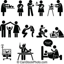 anya, atya, dada, gyermek, csecsemő, törődik