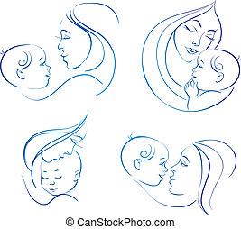 anya, baby., lineáris, állhatatos, ábra, árnykép