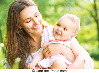 anya, csecsemő, outdoors., természet, gyönyörű