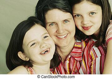 anya, két, lányok, fiatal