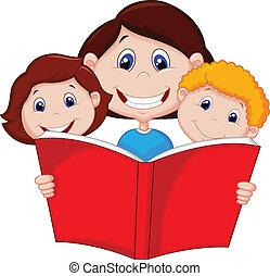 anya, könyv, felolvasás, karikatúra, neki