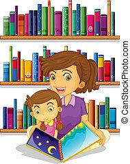 anya, könyv, felolvasás, lány, neki