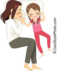 anya, lány, ágy, alvás