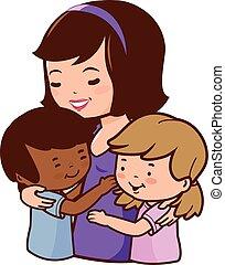 anya, neki, gyerekek, örökbe fogadott, birtok