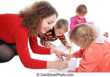 anya, rajz, gyerekek