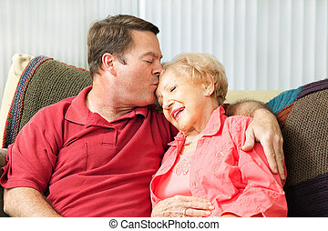 anya, törődik, öregedő