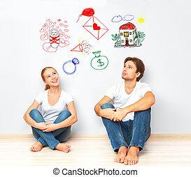 anyagi, concept., fiatal, épület, kényelem, ábrándozás, új, gyermek, párosít