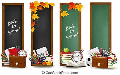 anyagi készletek, szalagcímek, izbogis, school., vector., négy, hát, leaves., ősz