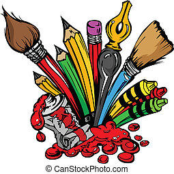 anyagi készletek, vektor, művészet, karikatúra