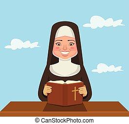apáca, felolvasás, biblia