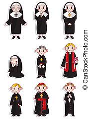 apáca, lelkész, állhatatos, karikatúra, ikon