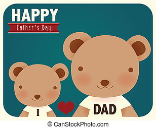 apák, boldog, nap, kártya