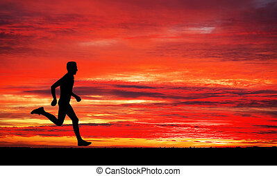 apocalyptic, ég, futás, napnyugta, háttér, ember