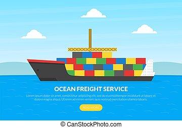 app, mozgatható, website, vektor, rakomány, oldal, sablon, tervezés, ábra, leszállás, óceán, hajó, homepage, konténer, szállítás, logisztika, szolgáltatás, rakomány, lakás
