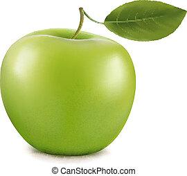apple., vektor, zöld