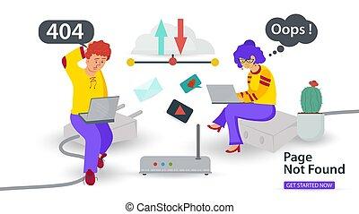 apps, probléma, mozgatható, kábel, vektor, hopp!, hiba, ülés, internet, transzparens, 404, alapít, laptops, ábra, összeköttetés, pasas, lakás, nem, websites, oldal, leány