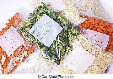 aprított, sajt, növényi, mélyhűtő, pantalló