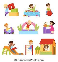 apró, gyerekek, állhatatos, létra, birtoklás, lány, csúszás, lefelé, fiú, vektor, játszótér, háttér, ábra, mászó, fehér, móka, játék, csúszó