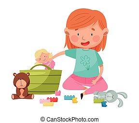 apró, különböző, ülés, emelet, leány, gyerekszoba, furcsa, játék, vektor, ábra
