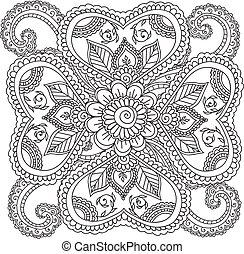 apródok, elvont, adults., virágos, elements., színezés, mehndi, doodles, hennabokor