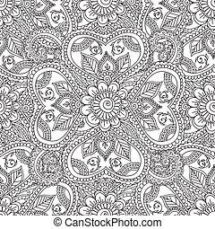 apródok, seamles, elvont, adults., virágos, elements., színezés, mehndi, doodles, hennabokor