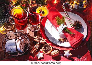 aprófa, szelet, forralt, fahéj, narancs, vörös bor