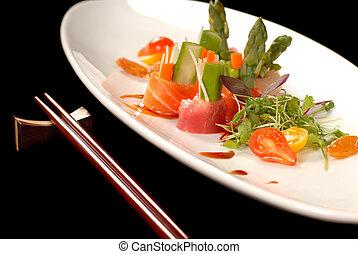 aprófa, tányér, sashimi, csapás, japán