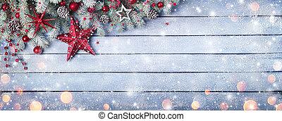 apróságok, palánk, piros, fenyő, kék, karácsony, elágazik, fából való, hóesés