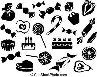 aprósütemény, édesség, gyümölcs